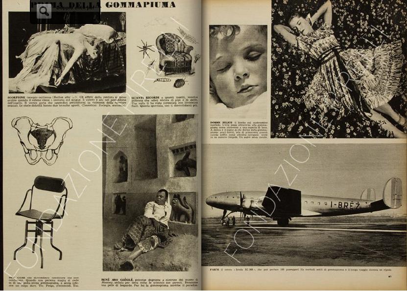 """Doppia pagina del servizio di Bruno Munari """"Prima della gommapiuma"""" in rivista """"Pirelli"""", n. 1, dicembre 1948, pagg. 26-27. (Sito online Archivio Storico Pirelli)"""