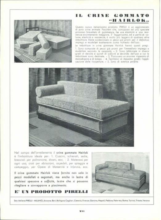 """Pagina pubblicitaria del crine gommato """"Hairlok"""" in """"Domus """" n. 80, agosto 1934, pag. XVI."""