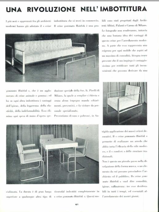 """Articolo publiredazionale Una rivoluzione nell'imbottitura per la presentazione del crine gommato Hairlok Pirelli, in """"Domus"""" n. 75, marzo 1934, pag. 67."""
