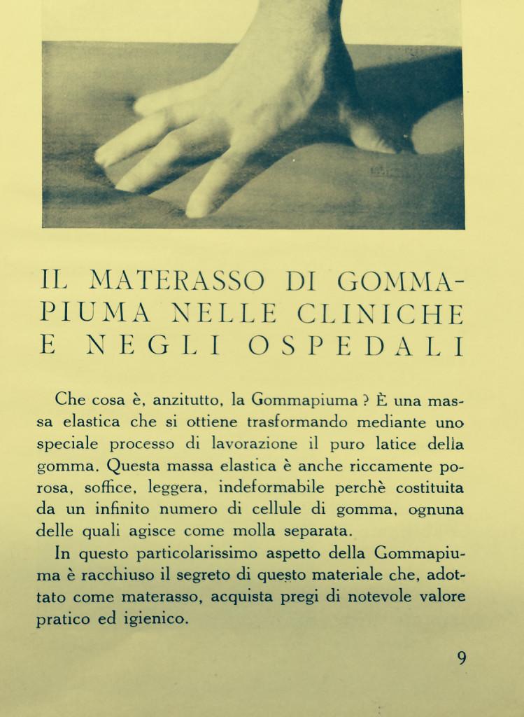Prima pagina del libretto a firma di dott. Piero Sangiorgi, Applicazioni della Gommapiuma, Manuali Tecnico Scientifici Pirelli, Milano 1936 – XIV.
