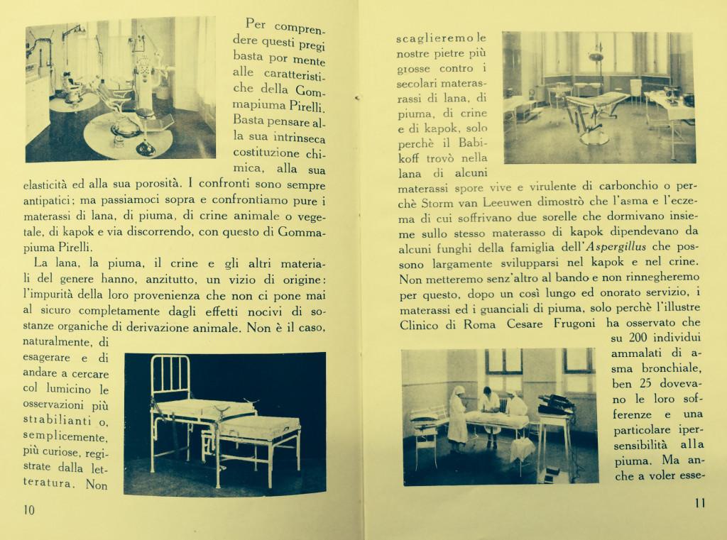 Doppia pagina del libretto a firma di dott. Piero Sangiorgi, Applicazioni della Gommapiuma, Manuali Tecnico Scientifici Pirelli, Milano 1936 – XIV.