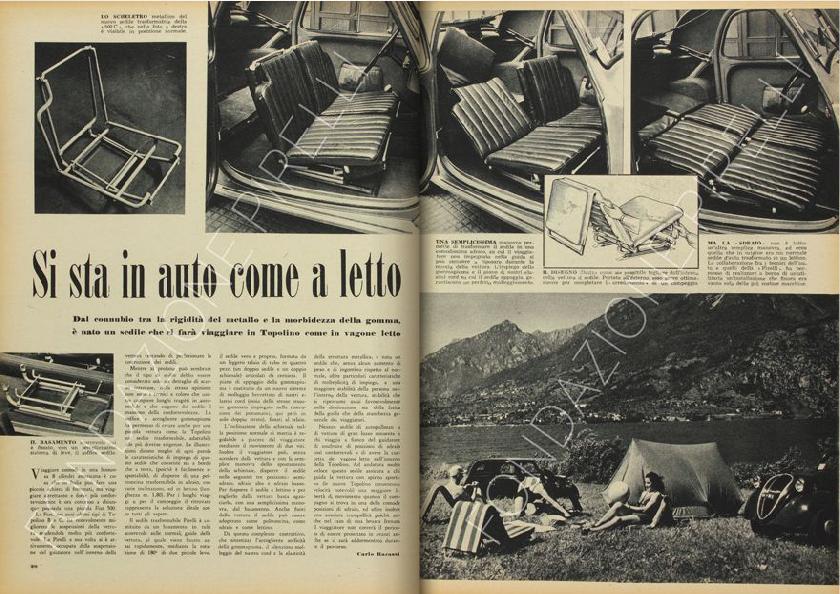 """Articolo firmato da Carlo Barassi """"Si sta in auto come a letto"""" che presenta l'uso della gommapiuma come materiale imbottito per una nuovo tipo di seduta all'interno dell'automobile Fiat 500 mod. B e C, detta """"Topolino"""", in rivista """"Pirelli"""" n. 4, luglio 1949, pagg. 20-21. (Sito online Archivio Storico Pirelli)"""
