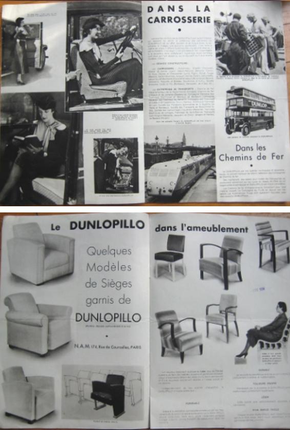 """Alto: doppia pagina della brochure in francese per la presentazione del materiale """"Dunlopillo"""" prodotto dalla Dunlop inglese, timbrato nov. 1934, dove si presenta fra le altre cose anche l'immagine dell'autotreno WR disegnato da Ettore Bugatti e messo in esercizio nel 1934. Basso: doppia pagina dove si mostra l'utilizzo del """"Dunlopillo"""" come imbottitura in diversi tipi di sedute. Dalla brochure in francese per la presentazione del materiale """"Dunlopillo"""" prodotto dalla Dunlop inglese, timbrato nov. 1934."""