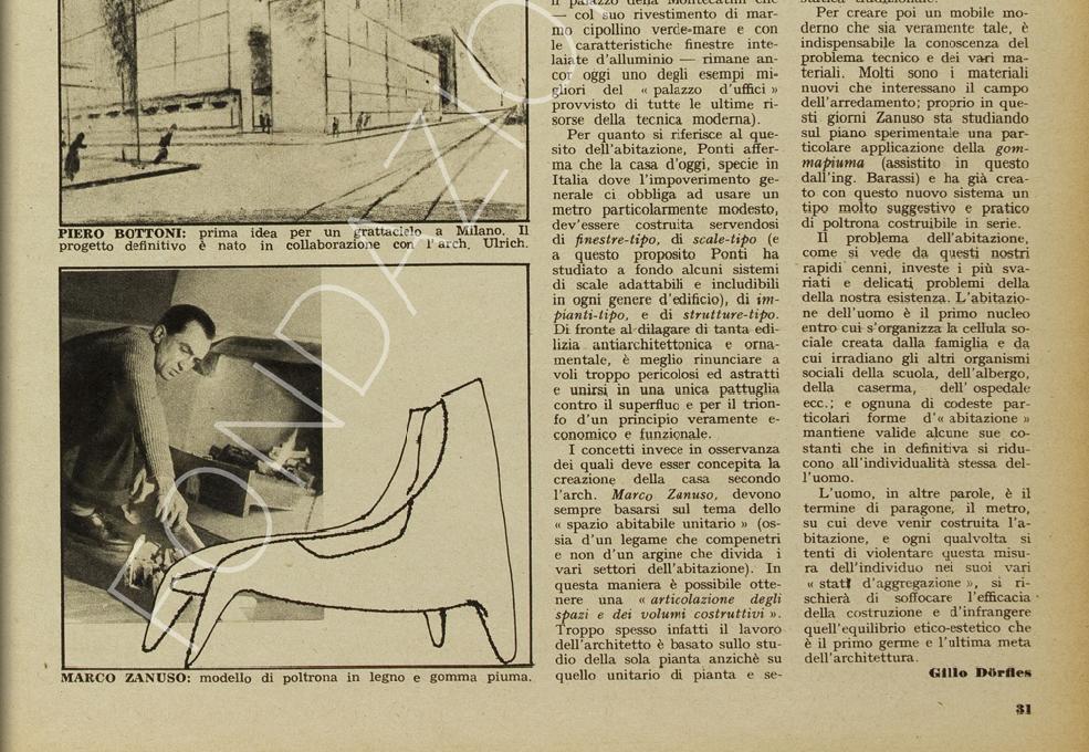 """Particolare dell'ultima pagina dell'articolo di Gillo Dorfles """"Nove architetti parlano dell'arredamento"""" (rivista """"Pirelli"""", n. 2, marzo 1949, pag. 31) dove si vede Marco Zanuso con il disegno della futura poltroncina """"famiglia Antropos"""". (Sito online Archivio Storico Pirelli)"""