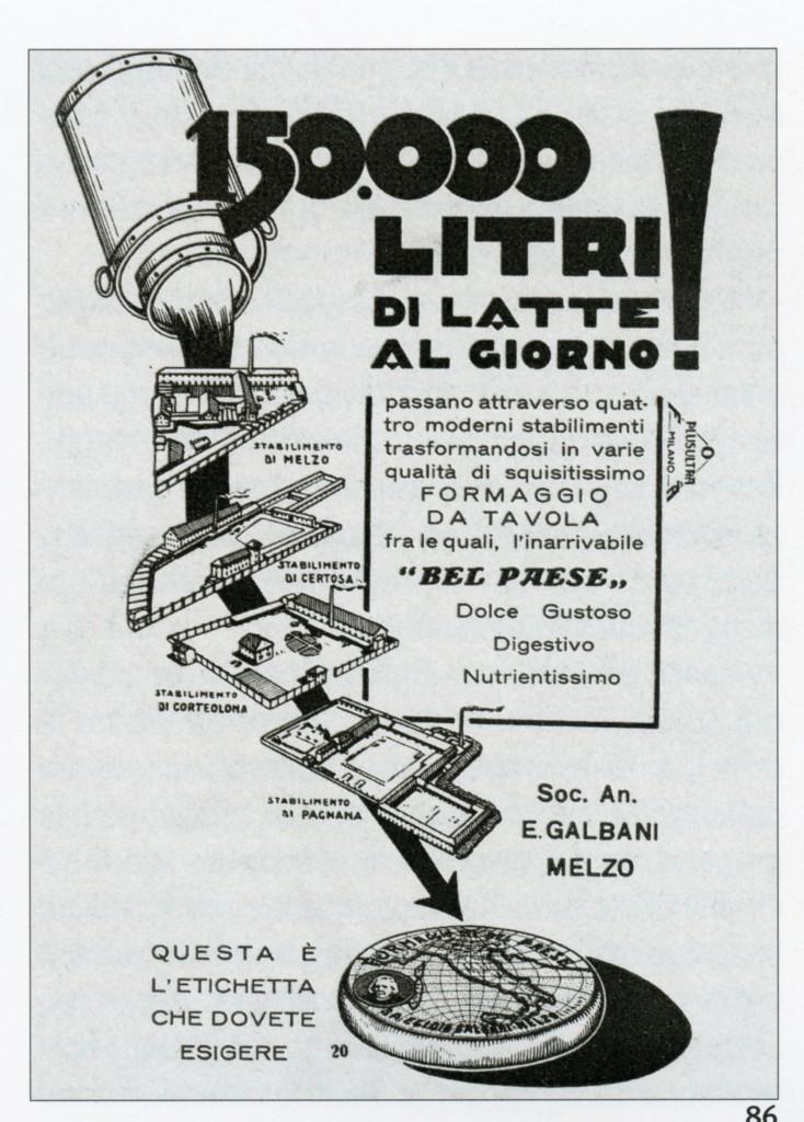 Annuncio pubbliciatrio formaggio Bel Paese, 1930 (Archivio storico Galbani)