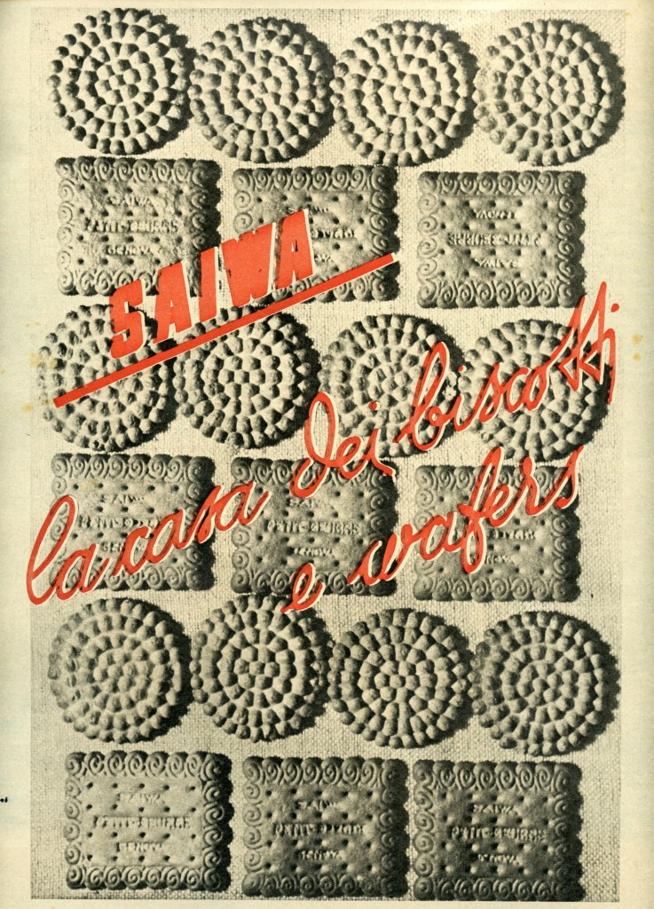 Annuncio pubblicitario biscotti Saiwa, 1940