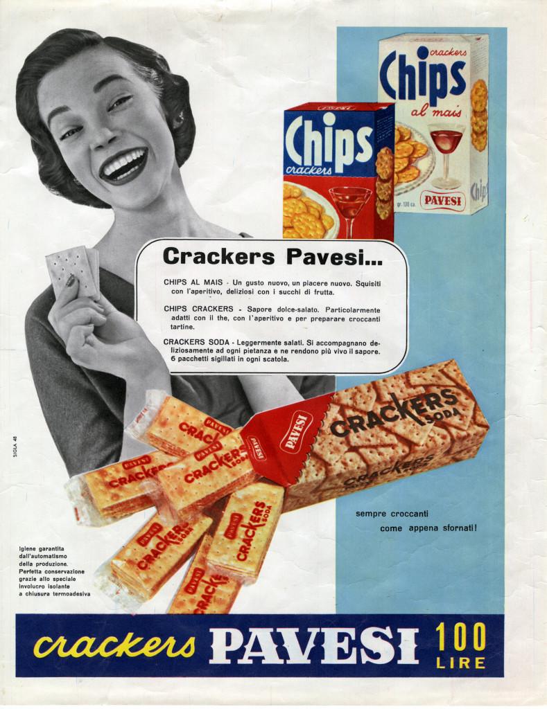 Studio Sigla, Annuncio pubblicitario crackers Pavesi (Archivio storico Barilla), 1955