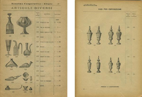 """Pagine del catalogo di vendita della S.A.V. """"Flaconeria Bottiglie"""", vasi del 1903 e del 1913"""