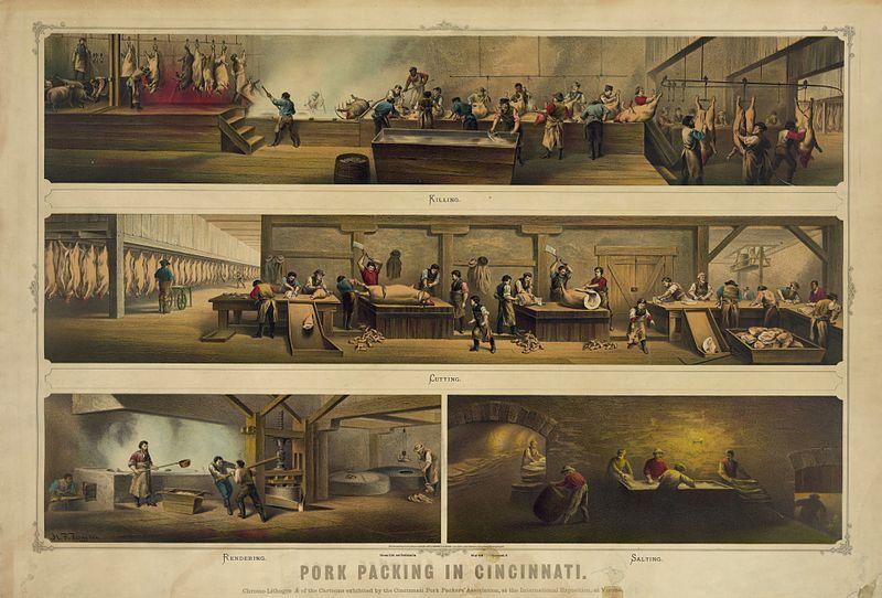 Fig. 1 – Processo di imballaggio della carne di maiale a Cincinnati, 1873. Immagine diffusa da United States Library of Congress, identificata con ID pga.03169.
