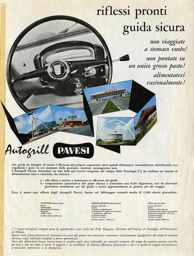 Erberto Carboni Pubblicità Riflessi pronti guida sicura 1962. Fondo Pavesi Archivio Storico Barilla