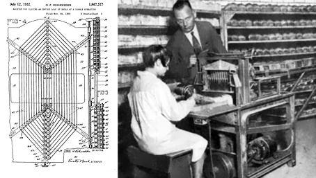 Fig. 8 sinistra – Macchina per affettare e impacchettare il pane, brevetto americano di O. F. Rohwedder. Fig. 9 destra – Processo di taglio del pane alla Chillicothe Baking Company, anni '30.