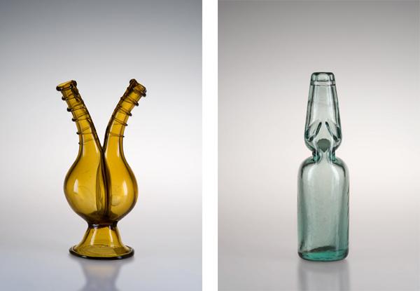 Venegrera, S.A.V., vetro giallo soffiato e Bottiglia per gazzosa, 1914-1938, S.A.V., vetro verde da 250 cc., da rifinire all'imboccatura