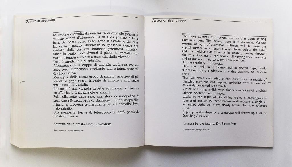 Pranzo astronomico tratto dal volume La cucina futurista.