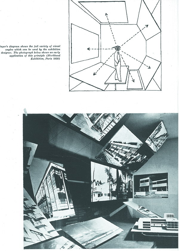 "Fig.4 - Herbert Bayer, in alto, il diagramma degli angoli visuali; in basso, la sua applicazione pratica all'esposizione del Werkbund a Parigi, 1930. Da B. Rudofsky, ""Notes on exhibition design: Herbert Bayer's pioneer work"", Interiors, 12, July 1947."