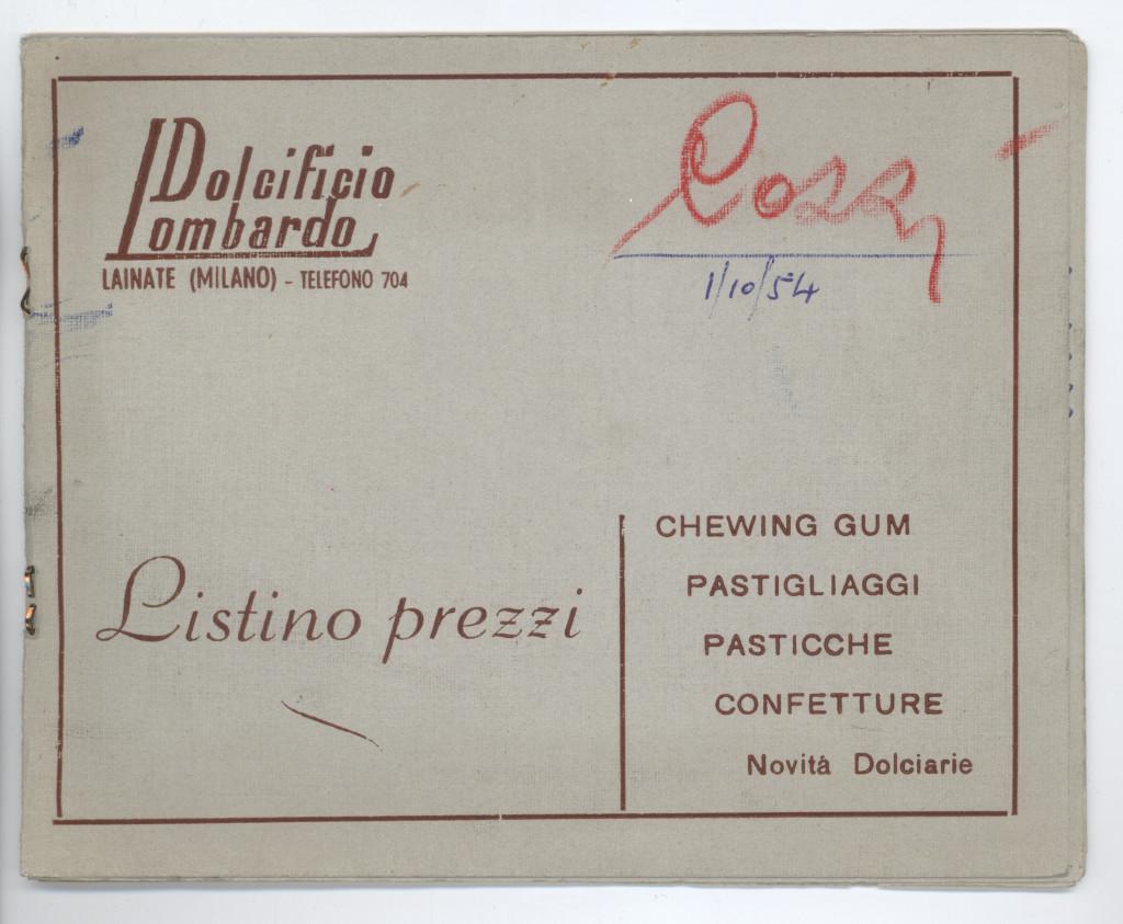 Listino prezzi dell'azienda del 1954. Sulla copertina sono riportati i diversi generi prodotti. (Courtesy, archivio storico Perfetti van Melle)