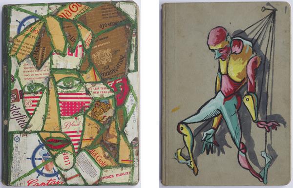 Fig. 1 e fig. 2 - Giancarlo Iliprandi, due autoritratti in copertina ai diari, dicembre 1947 - aprile 1949 / Courtesy collezione Giancarlo Iliprandi