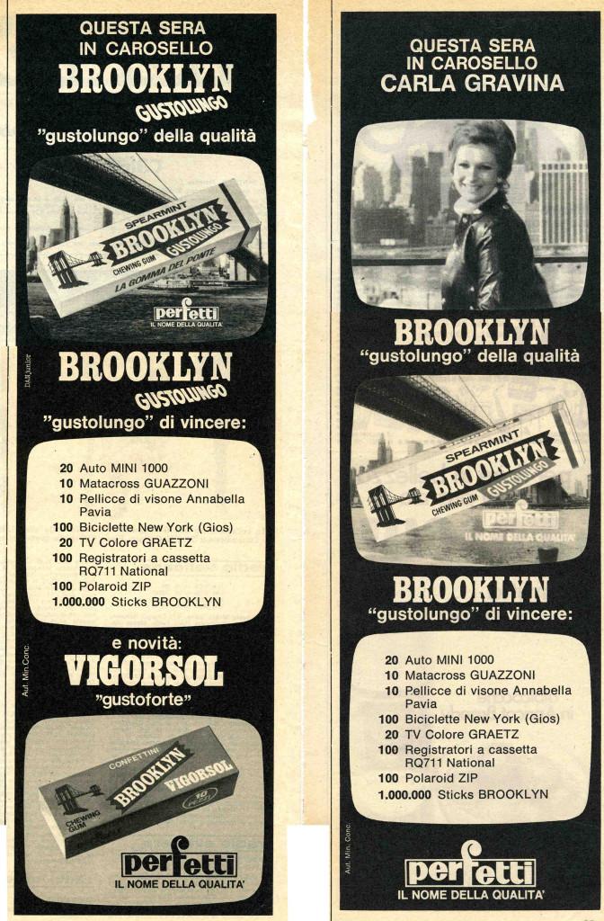 Le pagine pubblicitarie dei primi anni settanta della Brooklyn facevano chiaramente riferimento ai famosi spot televisivi che contemporaneamente andavano in onda con Carosello. I fotogrammi dei passaggi più significativi, in particolare quelli del finale dei filmati, composti in sequenza nella pagina alludevano alla pellicola stessa. (Courtesy, archivio storico Perfetti van Melle)