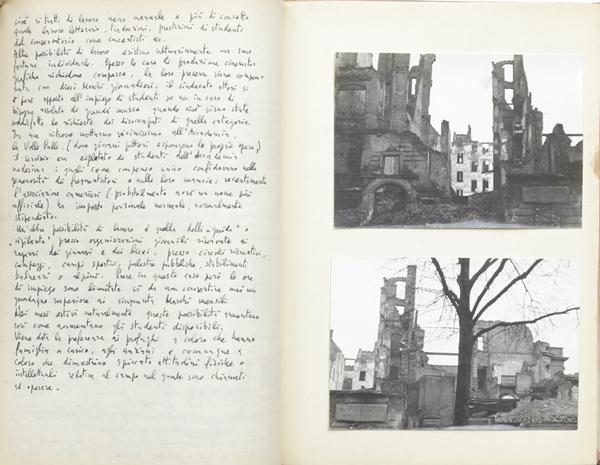 """Fig. 5 - Giancarlo Iliprandi, doppia pagina interna del diario """"Missione a Berlino"""", 1952 / Courtesy collezione Giancarlo Iliprandi"""