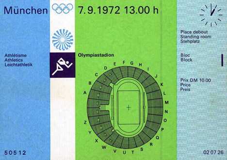 Adrian Frutiger's Univers typeface was used for the wayfinding at the 1972 Olympics in Munich. Image courtesy of Charlie Carroll