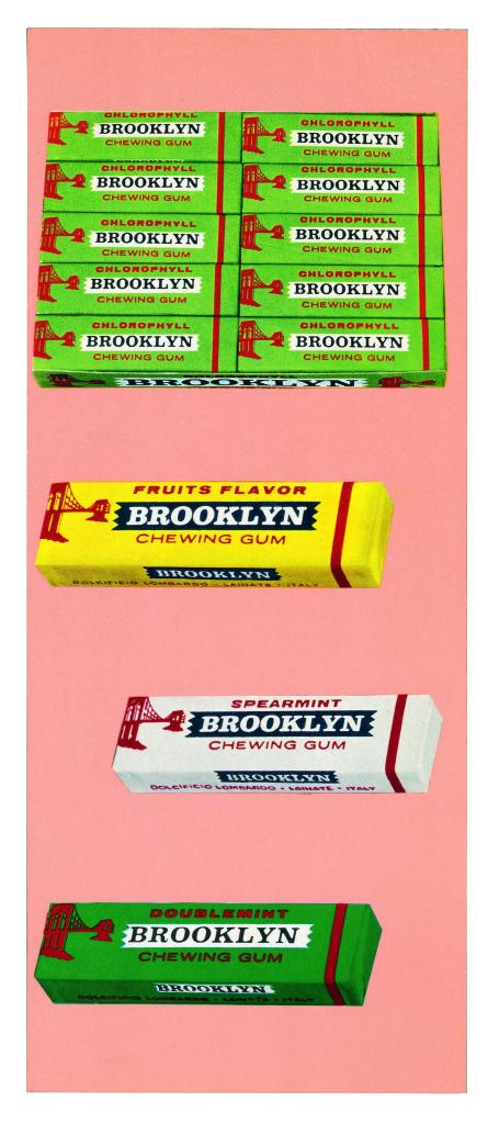 Confezioni dei primi quattro gusti della Brooklyn (spearmint, doublemint, fruits flavor e chlorophyll) prodotti fra la metà degli anni cinquanta e i primi anni sessanta. (Courtesy, archivio storico Perfetti van Melle)