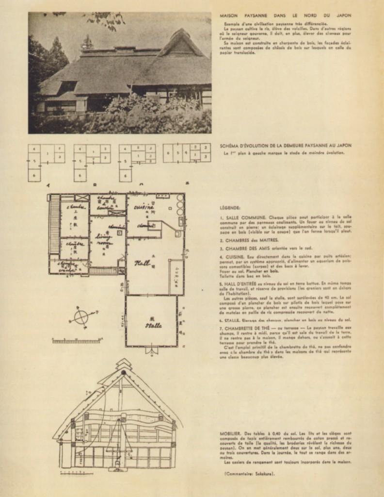 """Fig. 1. C. Perriand e J. Sakakura, pagina dell'articolo """"L'habitation familiale. Son développement économique et social"""", in L'Architecture d'Aujourd'hui, 1, 1935. La casa contadina nel nord del Giappone."""