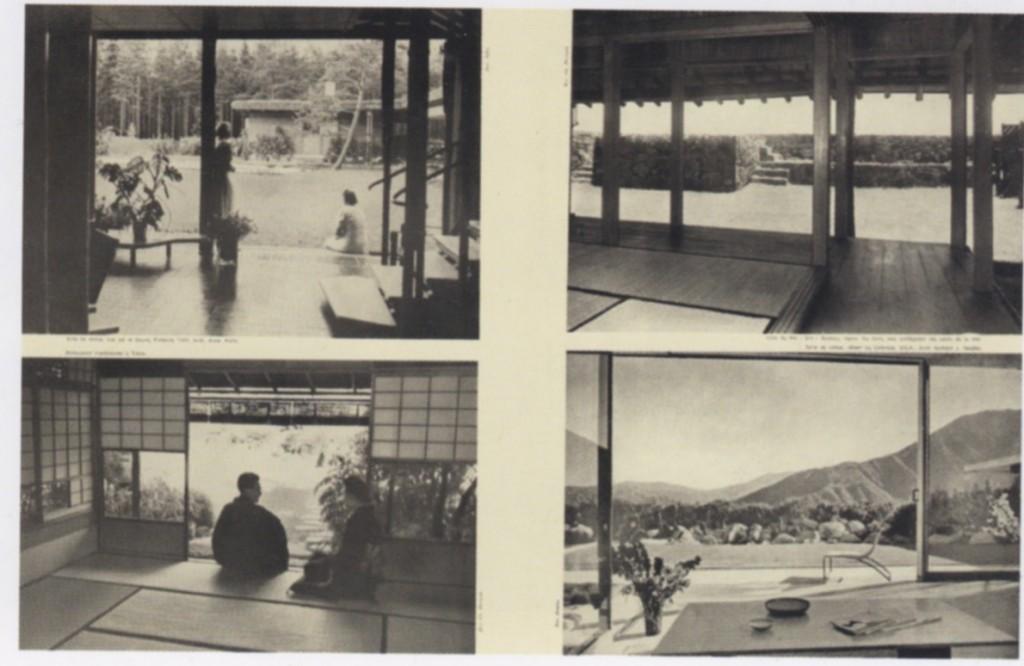 """Fig. 3. C. Perriand, doppia pagina dell'articolo """"L'art d'habiter"""", in Techniques et Architecture, numero speciale, 33-96, agosto 1950. A sinistra: in alto soggiorno di Villa Mairea (arch. Alvar Aalto, 1939), in basso ristorante tradizionale a Tokio. A destra: in alto Villa del Re """"Sho"""" Ruykyu in Giappone, in basso soggiorno di una casa nel deserto del Colorado (arch. Richard J. Neutra)."""