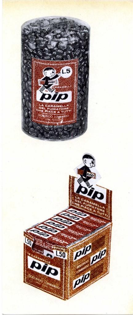 Caramelle per fumatori Pip, primi anni cinquanta. (Courtesy, archivio storico Perfetti van Melle)