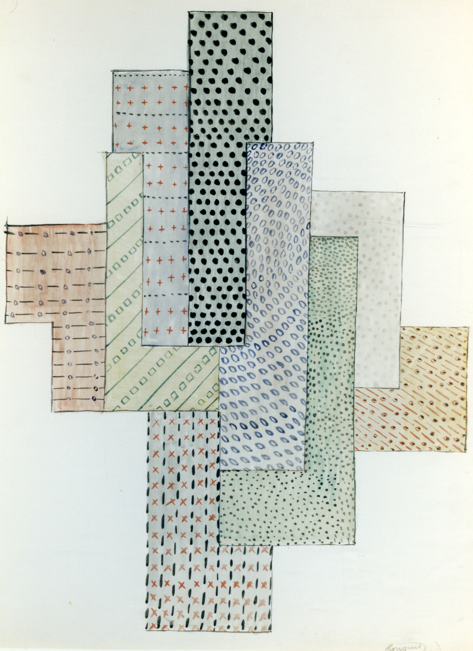 P.-L. Flouquet, Construction, watercolor, pencil, ink on paper, 1921. / © KIK-IRPA, Brussels (Belgium), cliché KM2803.