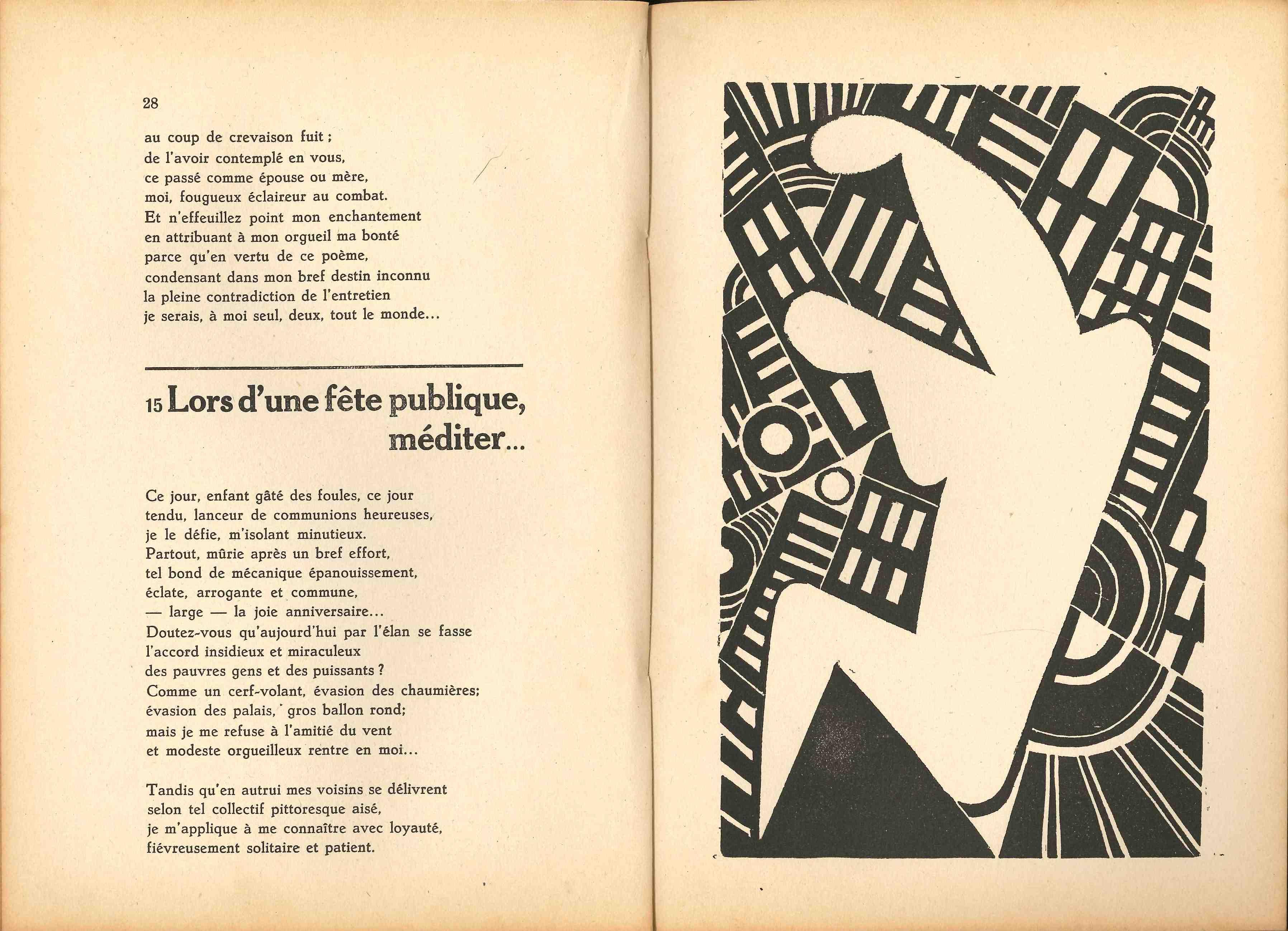 L. Flouquet, linocut illustration from the poem book by Pierre Bourgeois, Romantisme à toi, Bruxelles: Edition L'Equerre, 1927. / © AML Archives et Musée de la Littérature, Brussels (Belgium).