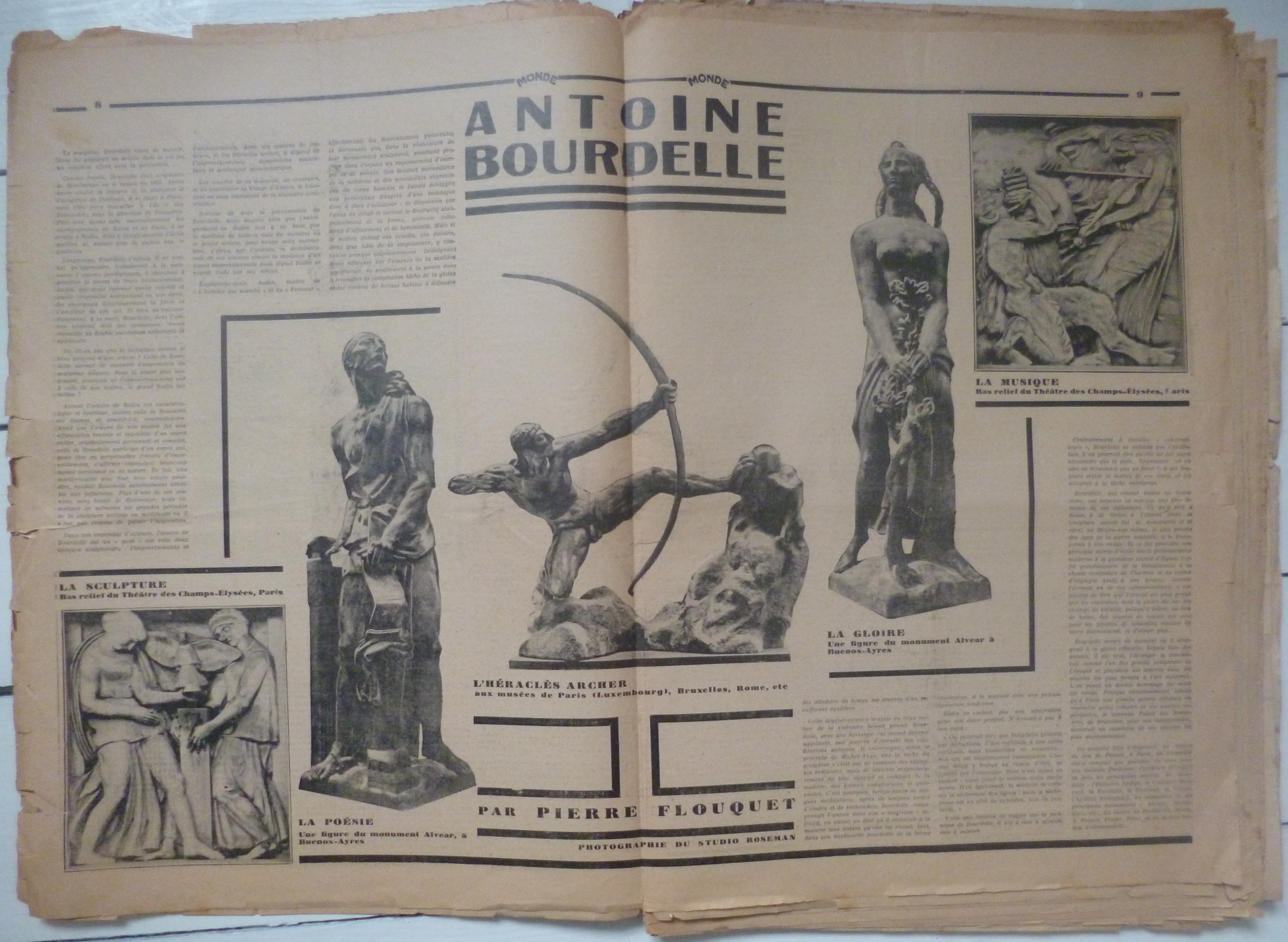 P.-L. Flouquet's article on the sculptor Antoine Bourdelle, in Monde, 17, 12 October 1929, offers an example of the double art page in Monde. / Private collection.