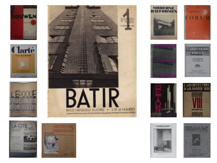 A comparison of the cover layout of the first issue of Bâtir in December 1932 with a sample of cover layouts for design magazines issued in the same period. / Private collection.