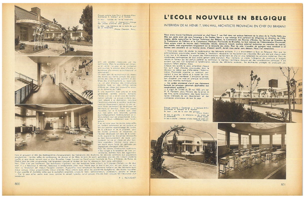 Double page designed by P.-L. Flouquet, in Bâtir, 45, August 1936, 800-801. Without illustrating the content of the text, the photos act as a distinct critical narrative for the reader, who can also see them as good examples of what should be done in order to respond to the critical issues discussed in the text. / Private collection.