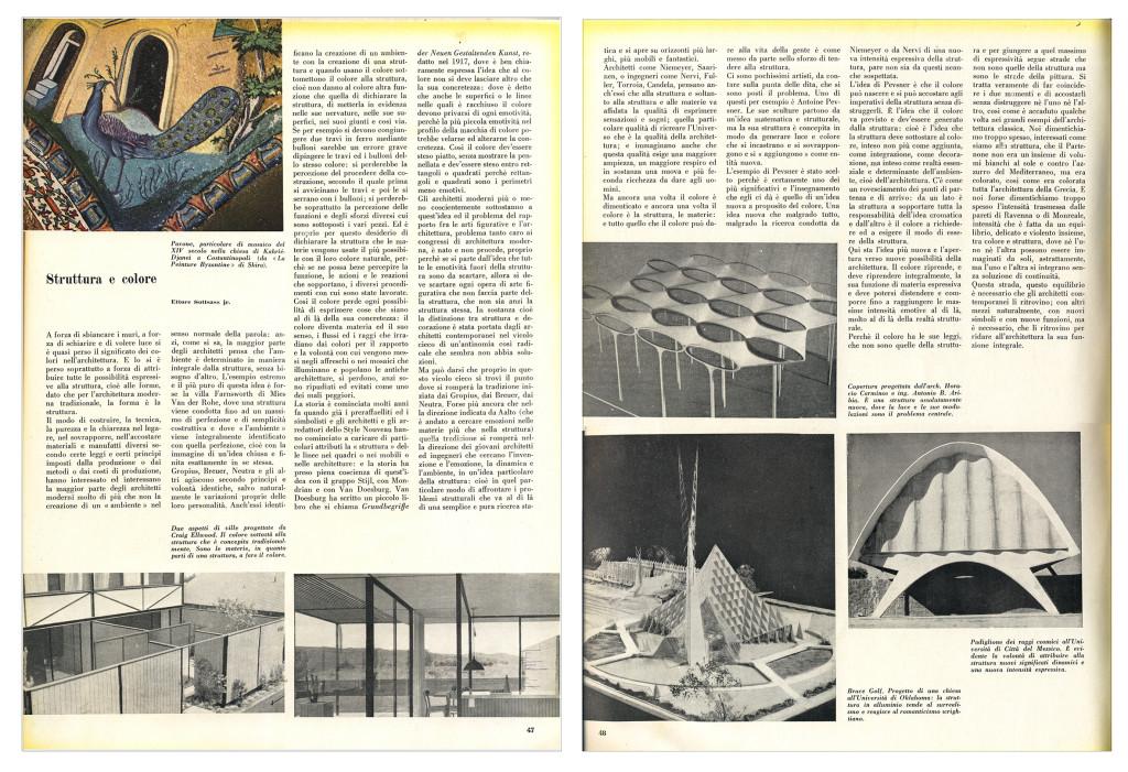 """Il primo articolo di Ettore Sottass jr. pubblicato nel 1954 in Domus, 299, che tratta il tema del al colore e intitolato """"Struttura e colore"""""""