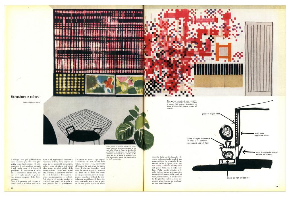 """Ettore Sottass jr., """"Struttura e colore"""", articolo pubblicato nel 1957 in Domus, 327"""
