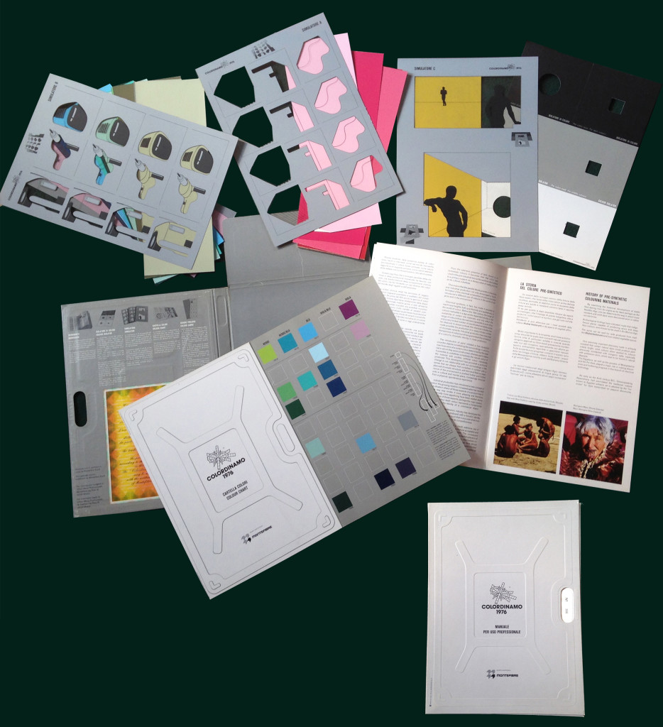 Andrea Branzi, Clino Trini Castelli e Massimo Morozzi, pagine e strumenti del manuale per uso professionale Colordinamo 1976, Il colore pre-sintetico, edito dal CDM-Centro design Montefibre