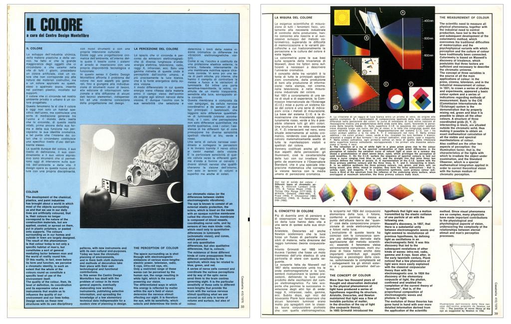 """Pagine dell'articolo curato dal CDM-Centro design Montefibre """"Il colore"""", pubblicato nel 1975 in Casabella, 410"""