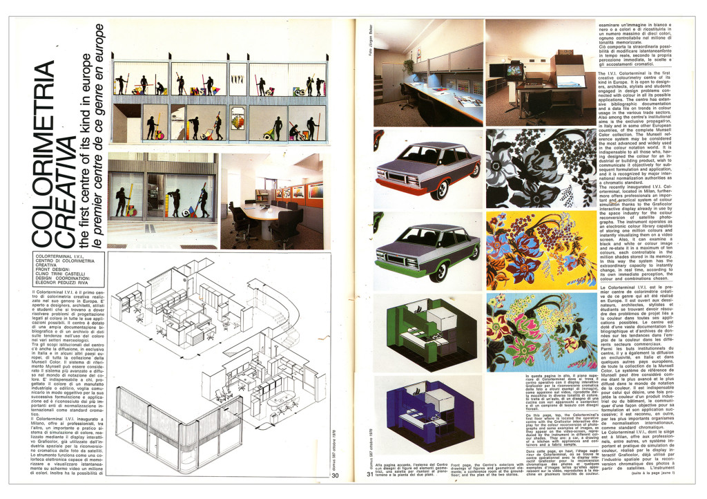 """Pagine dell'articolo di Clino Trini Castelli, """"Colorimetria Creativa"""", pubblicato nel 1978 in Domus, 587"""