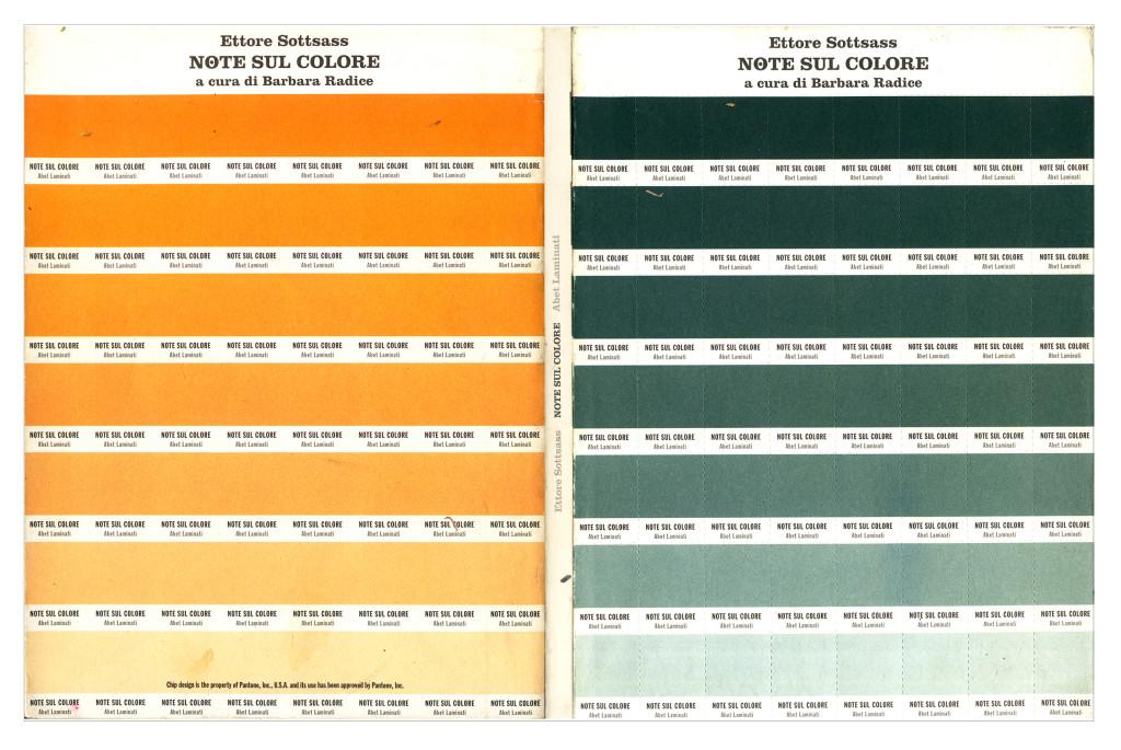 Copertina del libro Ettore Sottsass. Note sul colore, curato da Barbara Radice nel 1993 ed edito dall'azienda Abet Laminati come supplemento alla loro rivista Elementi