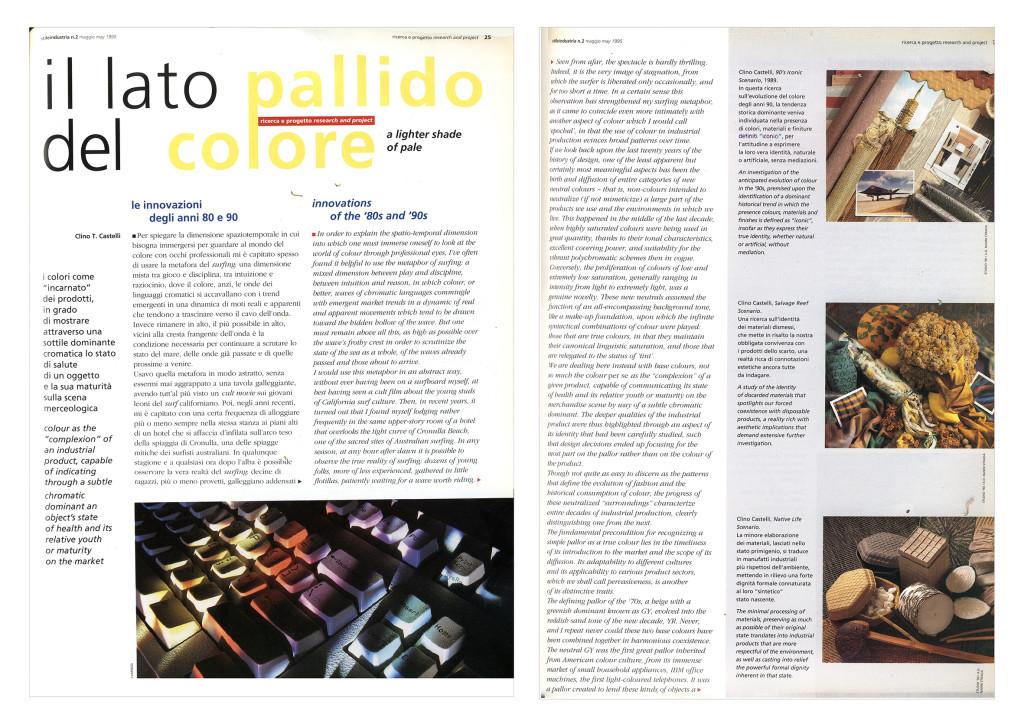 """Pagine dell'articolo di Clino Trini Castelli, """"Il lato pallido del colore"""", pubblicato nel 1995 in Stile Industria, 2"""