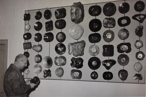 Fig 7. Il campionario nella sala espositiva, anni cinquanta / courtesy APV, De Poli, archivio foto.