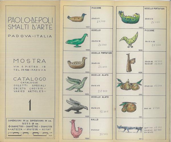 Pagina di un catalogo, anni cinquanta / courtesy APV, De Poli, archivio foto.