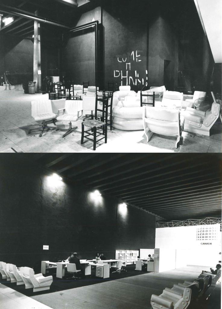 Fig.1 La XIV Triennale di Milano del 1968 durante l'occupazione in cui sono visibili alcuni arredi Tecno come le scrivanie Graphis e le poltrone Canada (Osvaldo Borsani, 1965) / courtesy Archivio Borsani, Varedo.