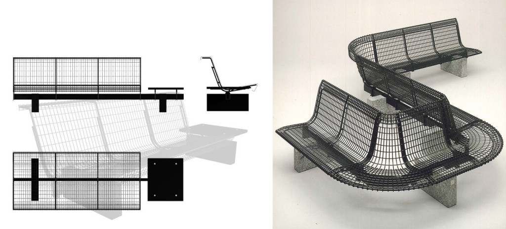 Fig.14 Disegni e veduta del sistema di sedute per spazi pubblici WS progettato dal Centro Progetti Tecno, 1981-83 / courtesy Archivio Borsani, Varedo.
