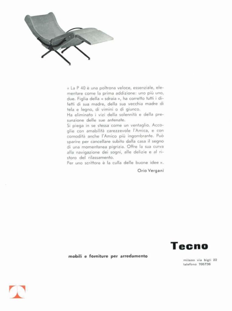 """Fig.4 Pagina pubblicitaria Tecno con testo firmato da Orio Vergani in """"onore"""" della poltrona P40 / fonte: Domus 337, dicembre 1957."""