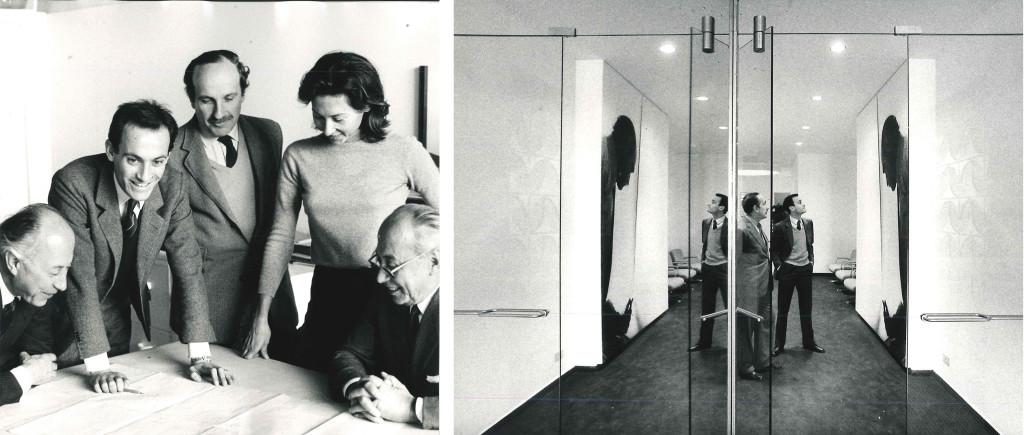Fig.5 A sinistra: foto di gruppo (da sinistra): Osvaldo Borsani, Marco Fantoni, Eugenio Gerli, Valeria Borsani e Fulgenzio Borsani, 1970; a destra: Eugenio Gerli e Marco Fantoni all'interno dello showroom di Londra, fine anni sessanta / courtesy Archivio Borsani, Varedo.