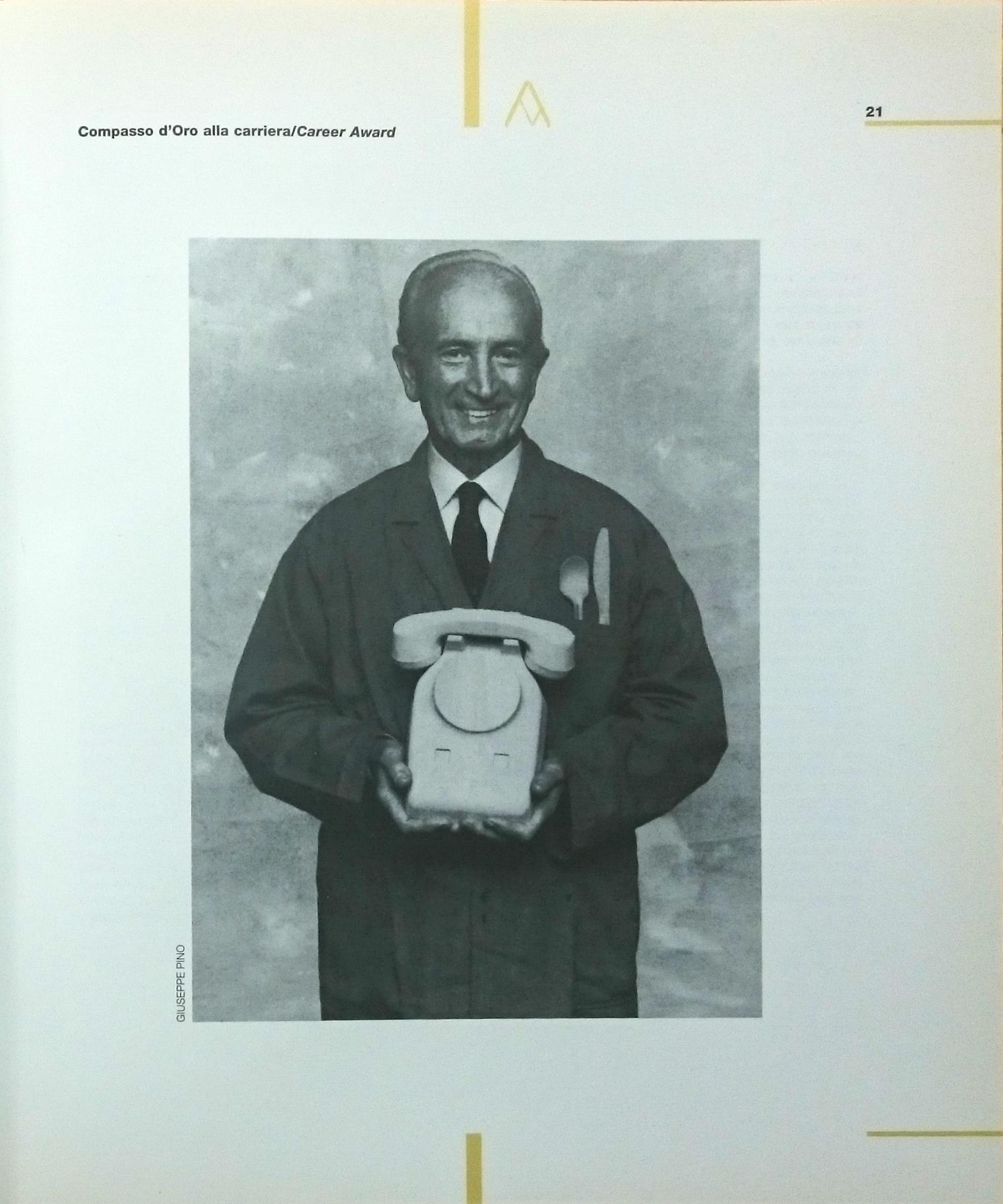 Pagina 21 del catalogo del XVIII Compasso d'oro-Adi 1988 con l'immagine di Giovanni Sacchi.