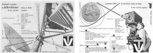 Fig. 6-7 - Erberto Carboni, Annunci di mezza pagina destinati ai principali quotidiani nazionali in occasione dell'inizio delle trasmissioni, 1954 (da Carboni, 1959).