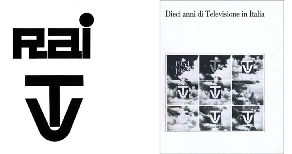 """Fig. 1-2 - Erberto Carboni, Marchi Rai (1948) e TV (1953) (da Linea Grafica, 2, marzo-aprile 1966). Fig. 3 - Il libro Dieci anni di Televisione in Italia (1964) con in copertina la sigla di inizio trasmissioni, Biblioteca Rai """"Dino Villani"""", Torino / © Teche Rai."""