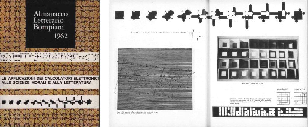 Fig. 10-11 - Bruno Munari, Copertina dell'Almanacco Letterario Bompiani 1962, 1961 e pagine interne dello stesso Almanacco.