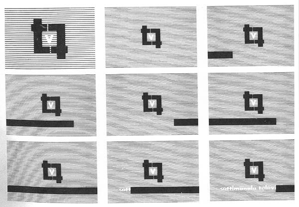 Fig. 17 - Pino Pascali in collaborazione con Sandro Lodolo, Sigla di TV7, pubblicata in La nostra Rai, 5, 1965.